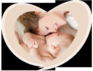 אם ותינוק בשכיבה
